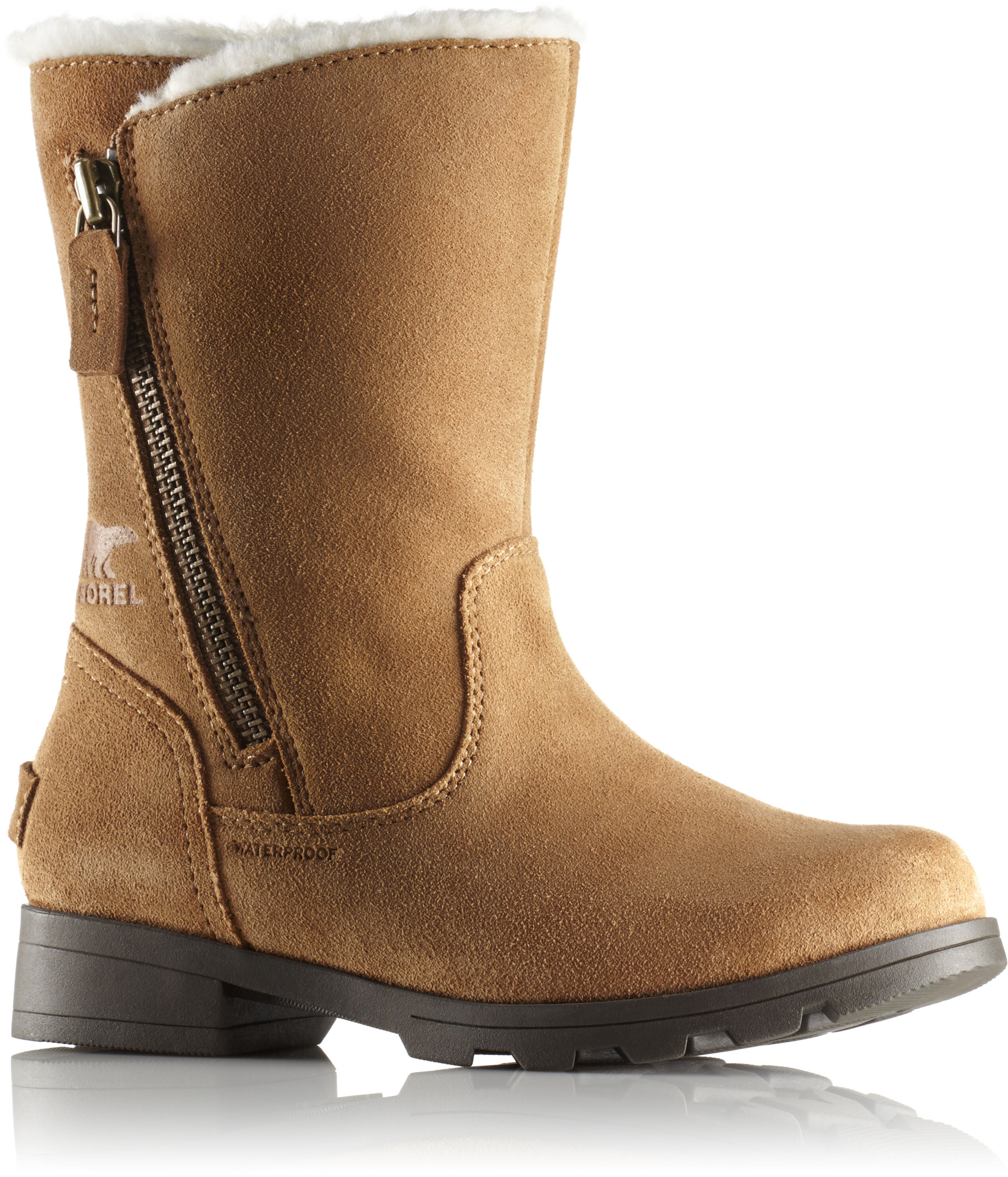d23ac7f4cc5864 Sorel Emelie Foldover Boots Youth Camel Brown Natural